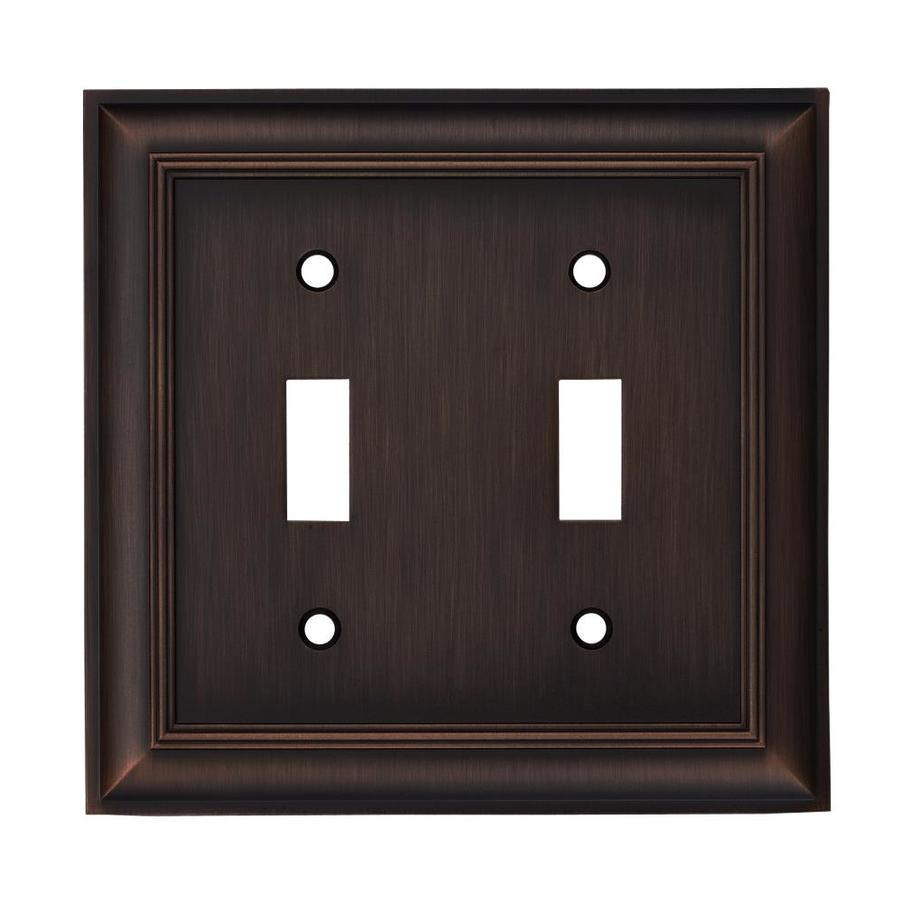 allen + roth 2-Gang Oil Rubbed Bronze Standard Toggle Metal Wall Plate