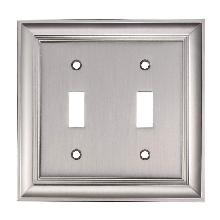 allen + roth 2-Gang Satin Nickel Double Toggle Wall Plate