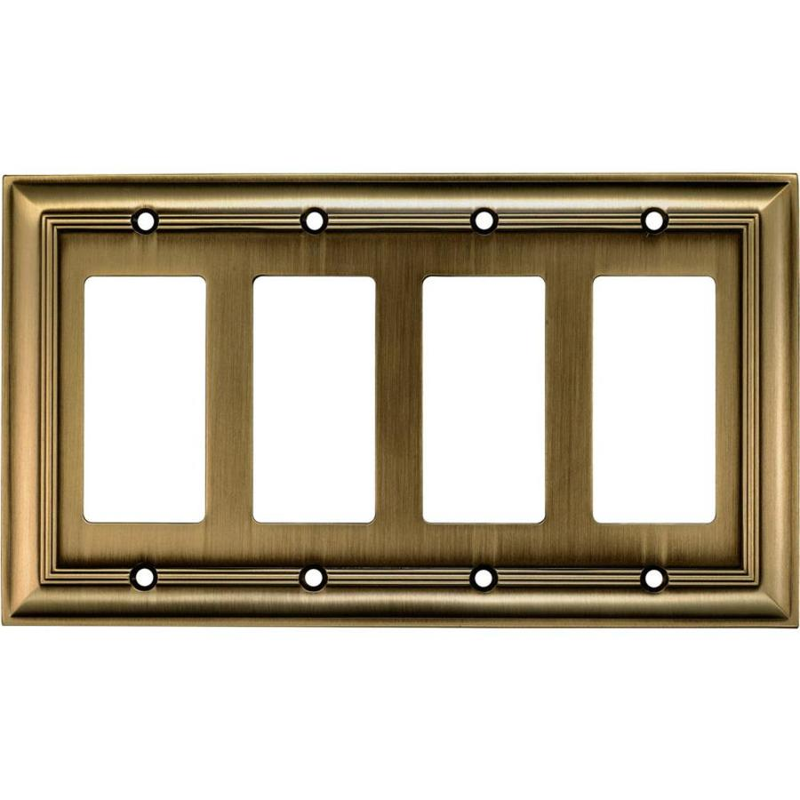 allen + roth 4-Gang Antique Brass Quad Decorator Wall Plate