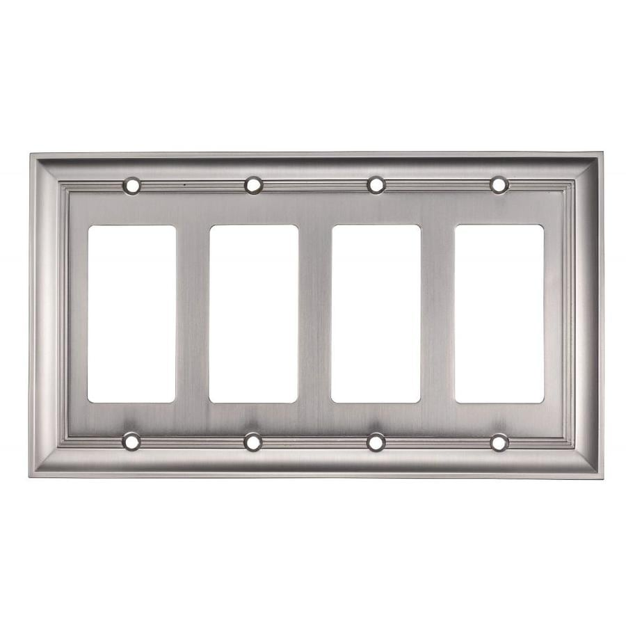 allen + roth Cosgrove 4-Gang Satin nickel Quad Decorator Wall Plate