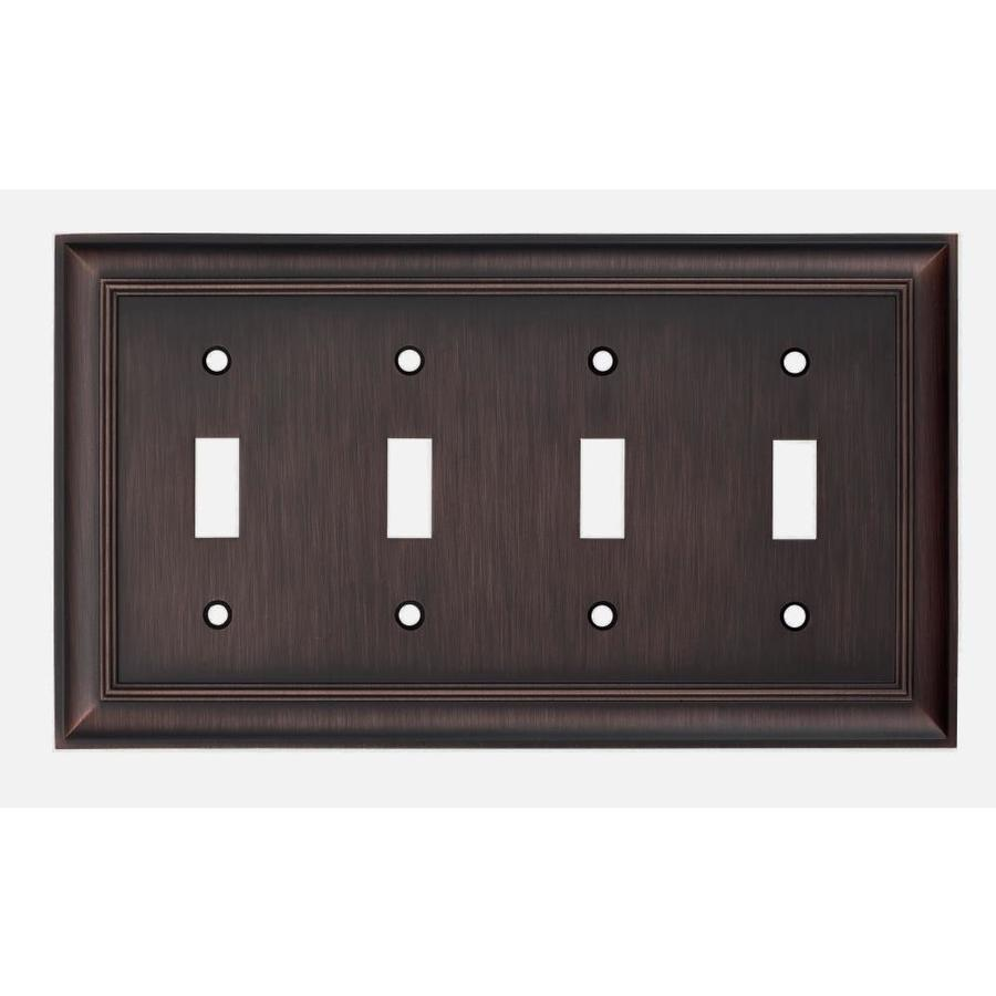 allen + roth 4-Gang Oil Rubbed Bronze Standard Toggle Metal Wall Plate