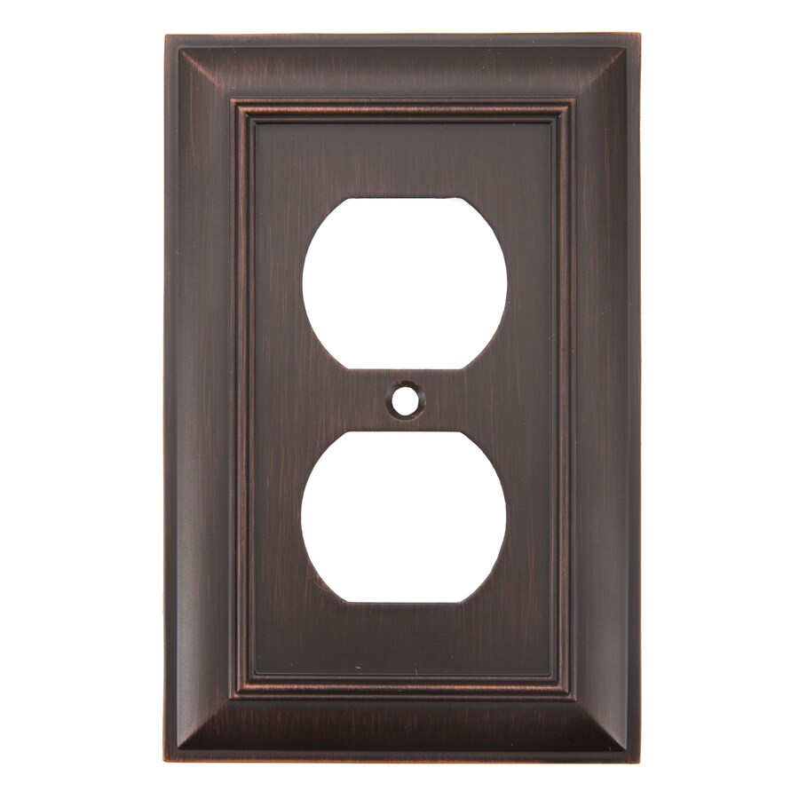 allen + roth Cosgrove 1-Gang Oil-Rubbed bronze Single Round Wall Plate