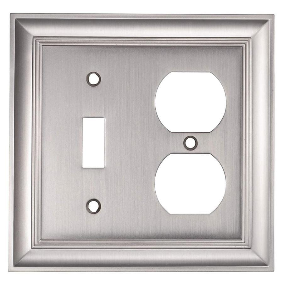 allen + roth Cosgrove 2-Gang Satin nickel Double Toggle/Duplex Wall Plate