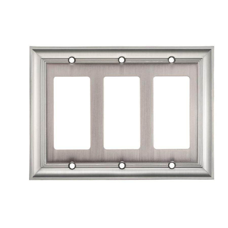 allen + roth 3-Gang Satin Nickel Decorator Rocker Metal Wall Plate
