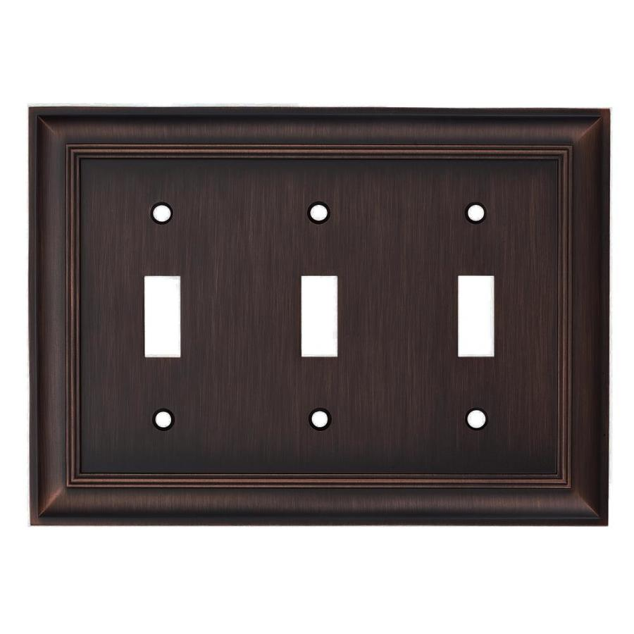 allen + roth Cosgrove 3-Gang Oil-Rubbed bronze Triple Toggle Wall Plate