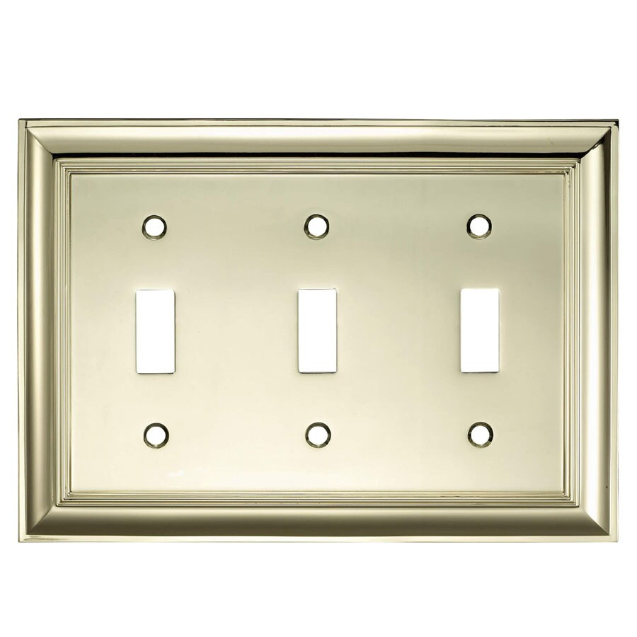 allen + roth 3-Gang Polished Brass Toggle Wall Plate