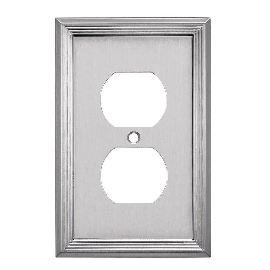allen + roth Basic Stripe 1-Gang Satin Nickel Single Round Wall Plate