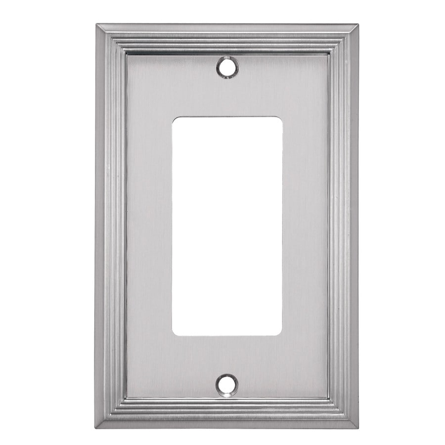allen + roth Basic Stripe 1-Gang Satin Nickel Single Decorator Wall Plate