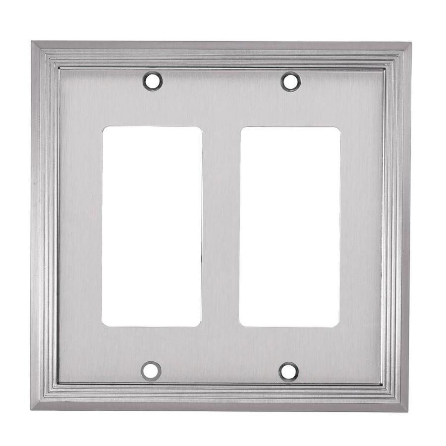 allen + roth Market 2-Gang Satin nickel Double Decorator Wall Plate