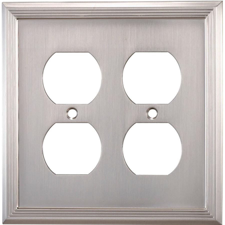 allen + roth Market 2-Gang Satin Nickel Double Round Wall Plate