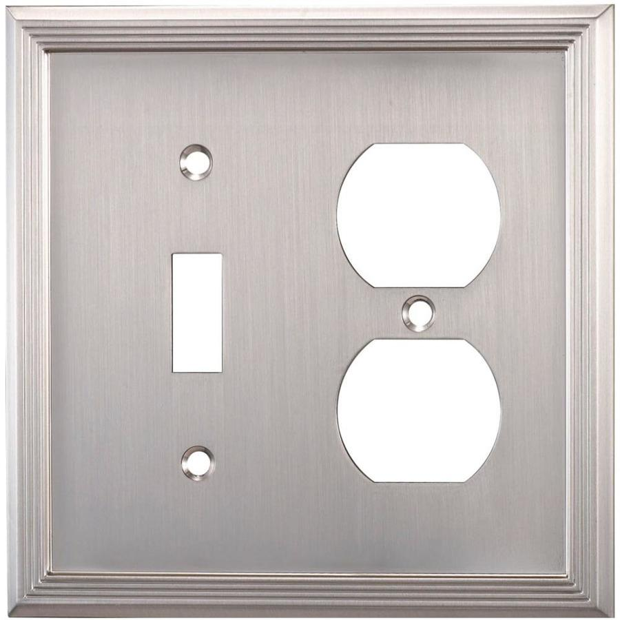 allen + roth Market 2-Gang Satin Nickel Double Toggle/Duplex Wall Plate