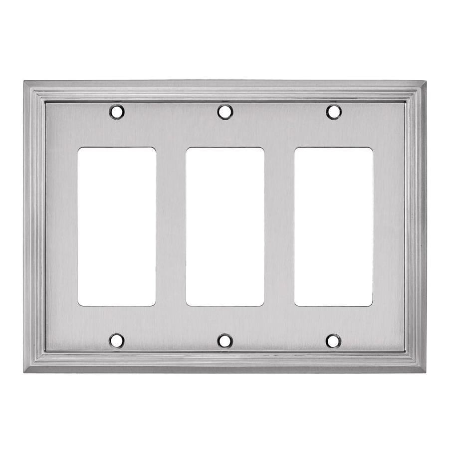 allen + roth Market 3-Gang Satin Nickel Triple Decorator Wall Plate