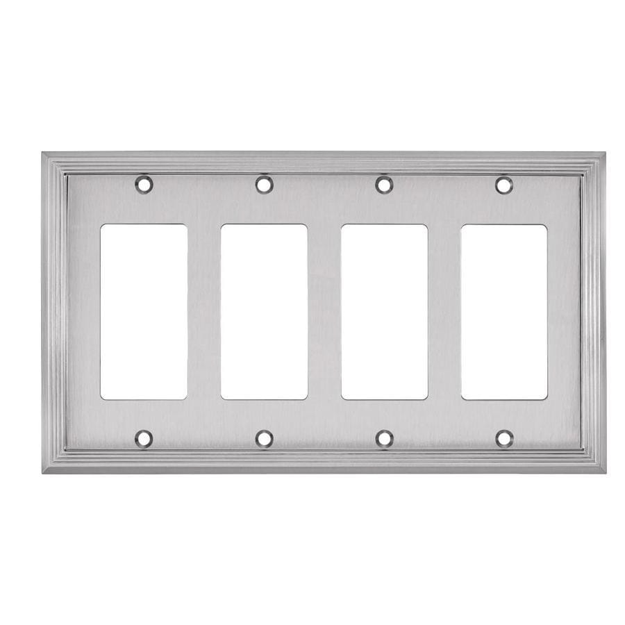 Allen + Roth Market 4 Gang Satin Nickel Quad Decorator Wall Plate