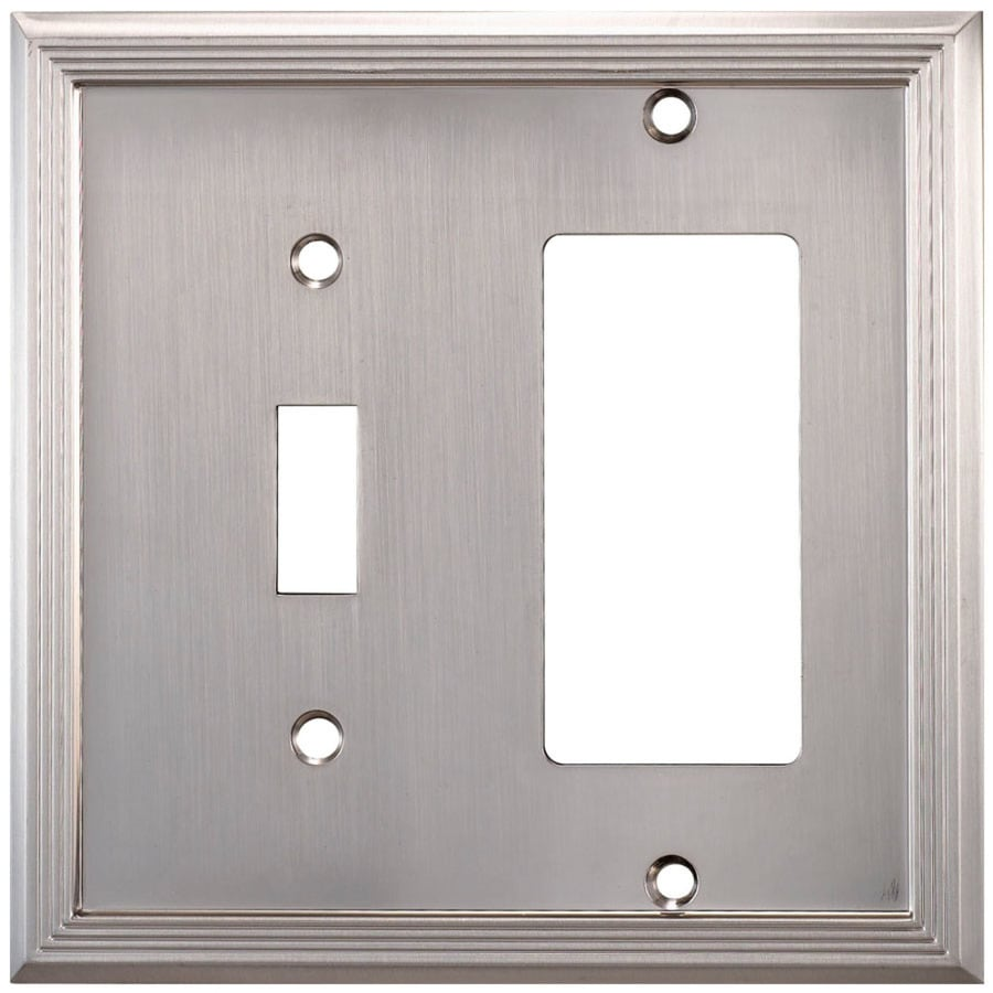 allen + roth Basic Stripe 2-Gang Satin nickel Double Round Wall Plate