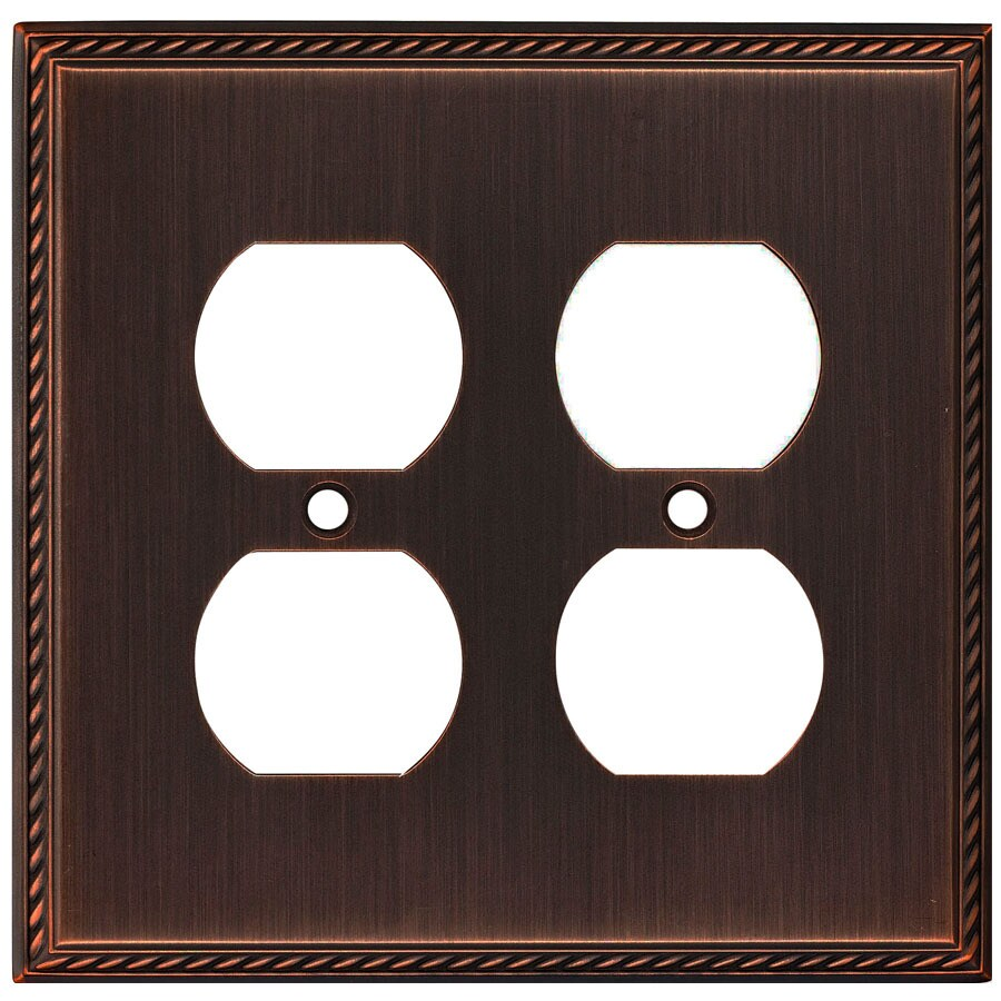 allen + roth 2-Gang Oil-Rubbed Bronze Round Wall Plate