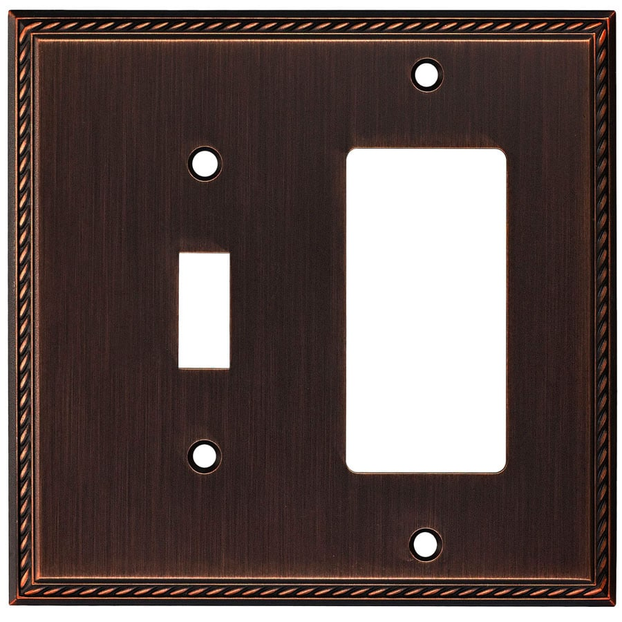 allen + roth 2-Gang Oil-Rubbed Bronze Single Round Wall Plate