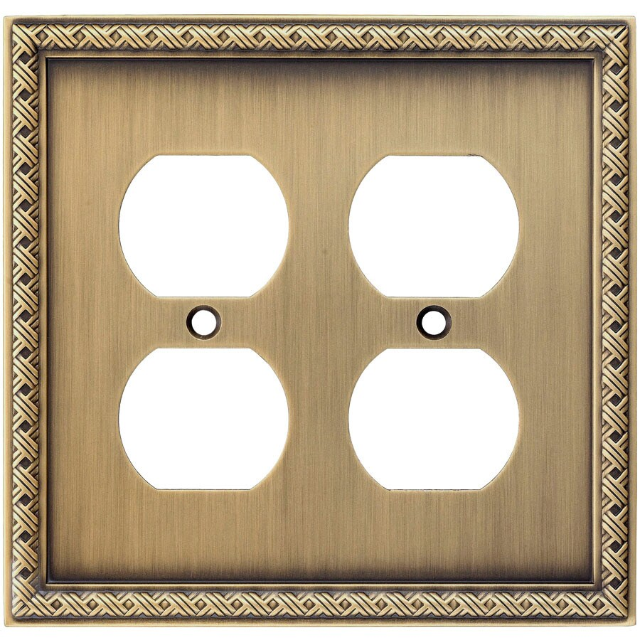 allen + roth 2-Gang Aged Brass Round Wall Plate