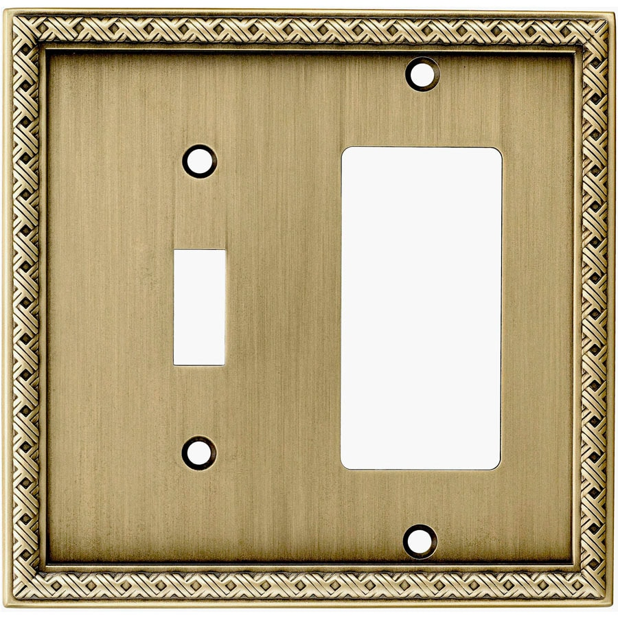 allen + roth 2-Gang Aged Brass Single Round Wall Plate