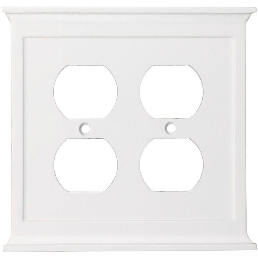 allen + roth 2-Gang White Standard Duplex Receptacle Metal Wall Plate