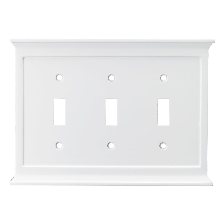 allen + roth 3-Gang White Standard Toggle Wood Wall Plate