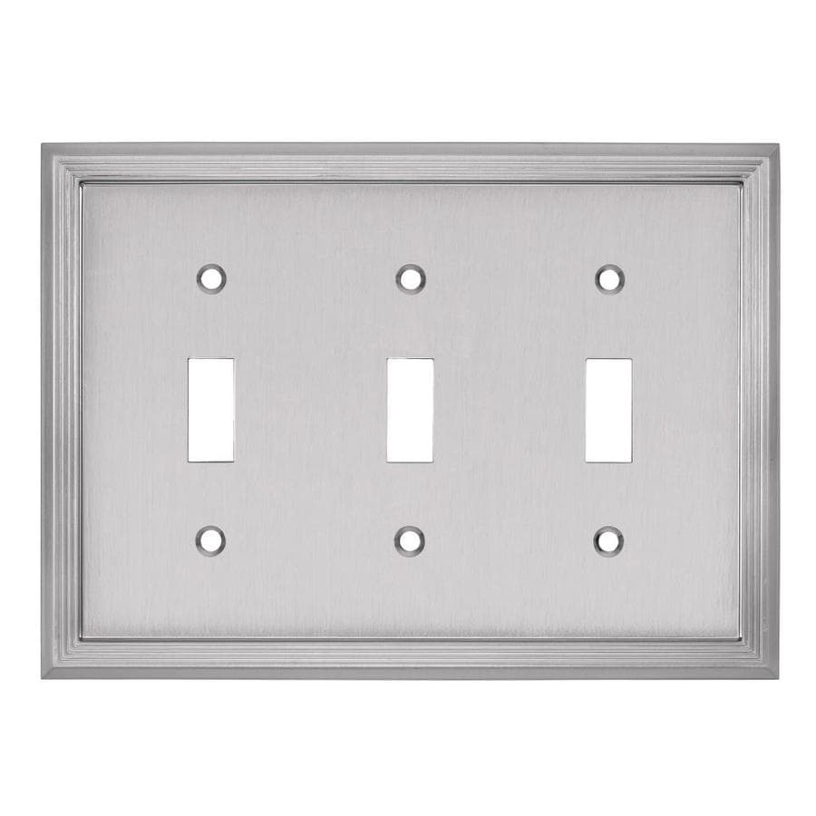 allen + roth Market 3-Gang Satin nickel Triple Toggle Wall Plate