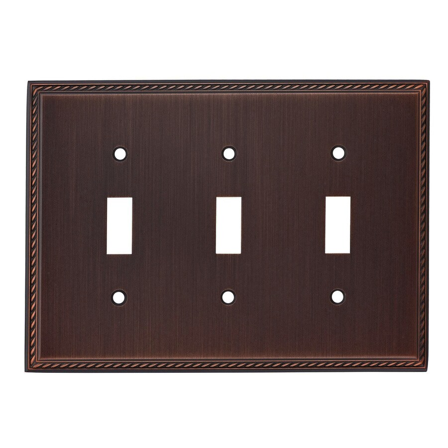 allen + roth 3-Gang Oil-Rubbed Bronze Toggle Wall Plate