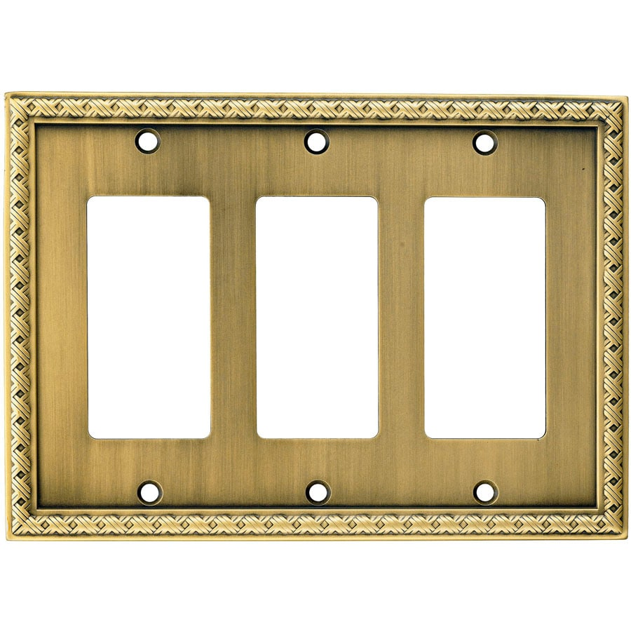 allen + roth 3-Gang Aged Brass Decorator Wall Plate