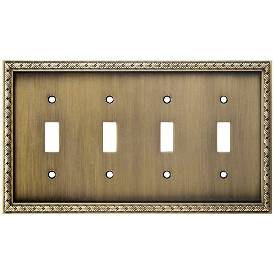 allen + roth 4-Gang Aged Brass Toggle Wall Plate