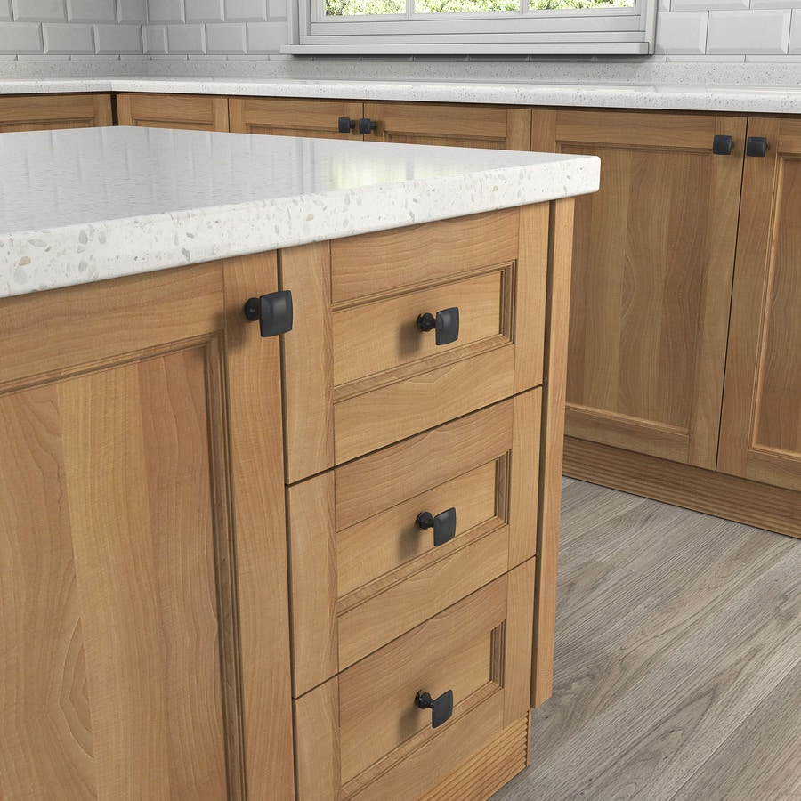 shop allen + roth matte black square cabinet knob at lowes