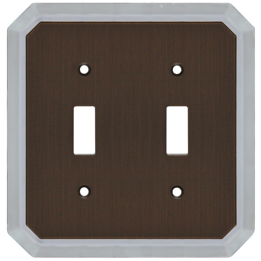 allen + roth 2-Gang Dark Oil-Rubbed Bronze and Satin Nickel Toggle Wall Plate