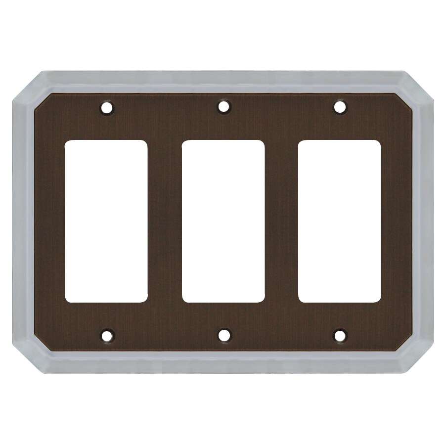 allen + roth 3-Gang Dark Oil-Rubbed Bronze and Satin Nickel Decorator Wall Plate