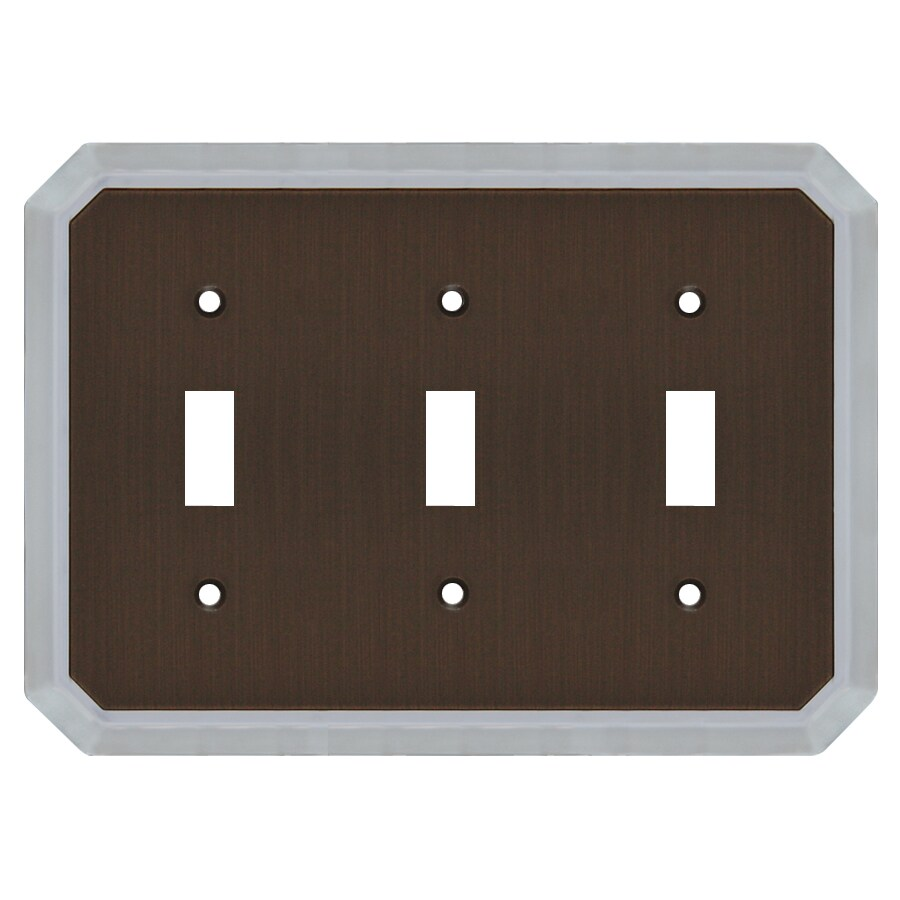 allen + roth 3-Gang Dark Oil-Rubbed Bronze and Satin Nickel Toggle Wall Plate