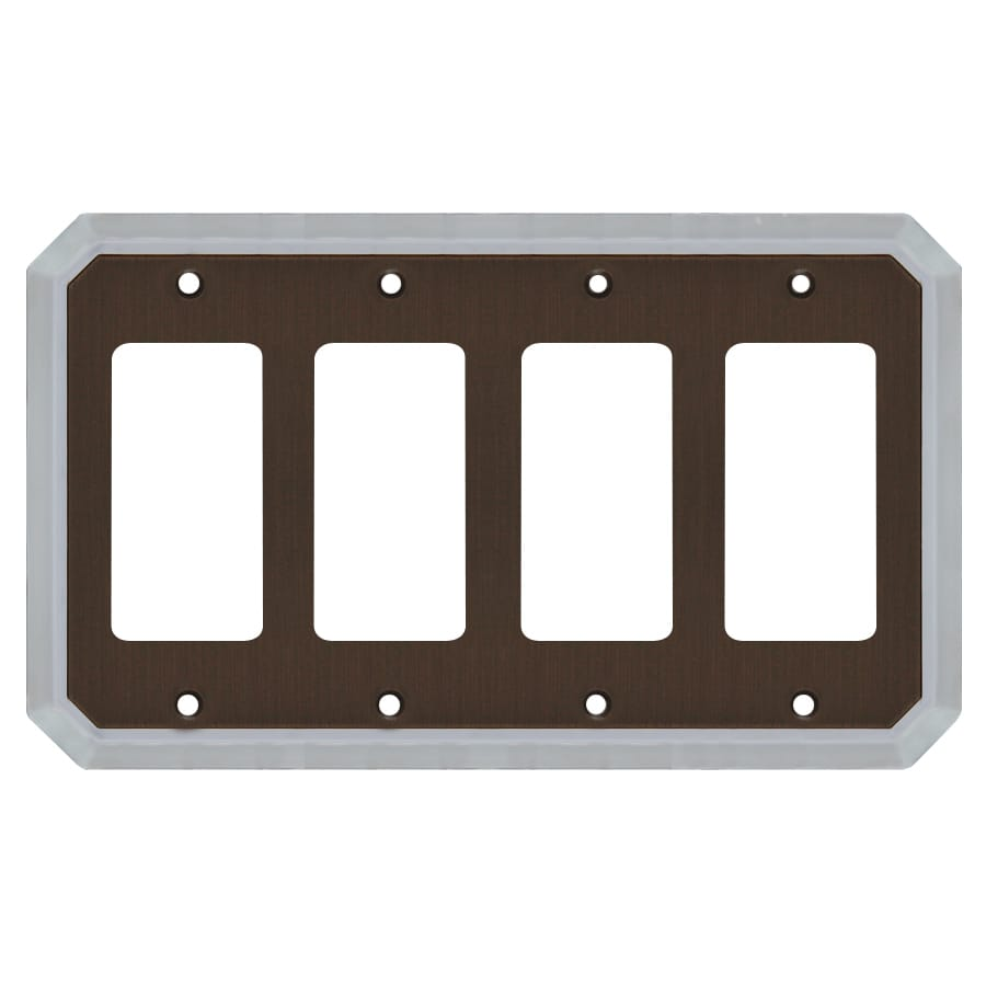 allen + roth 4-Gang Dark Oil-Rubbed Bronze and Satin Nickel Decorator Wall Plate