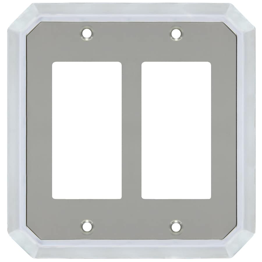 allen + roth 2-Gang Satin Nickel and Polished Chrome Decorator Wall Plate