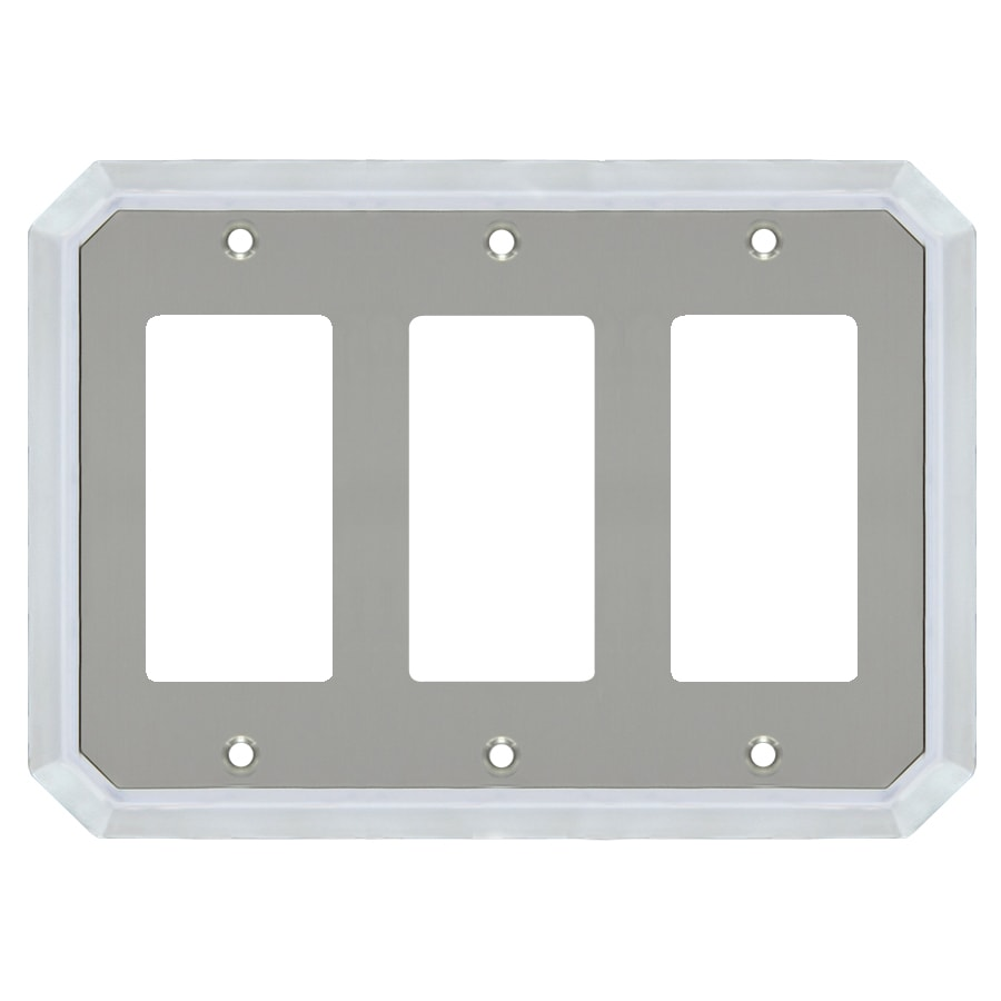 allen + roth 3-Gang Satin Nickel and Polished Chrome Decorator Wall Plate