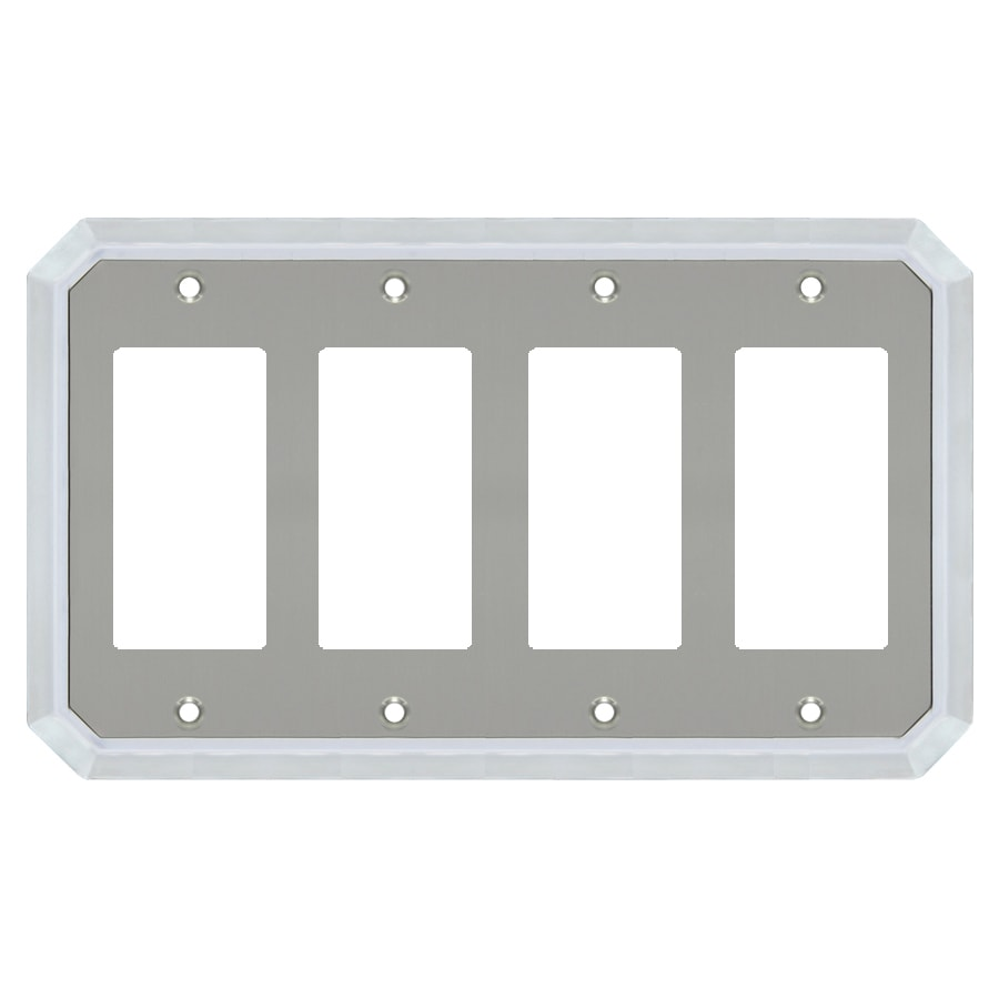 allen + roth 4-Gang Satin Nickel and Polished Chrome Decorator Wall Plate