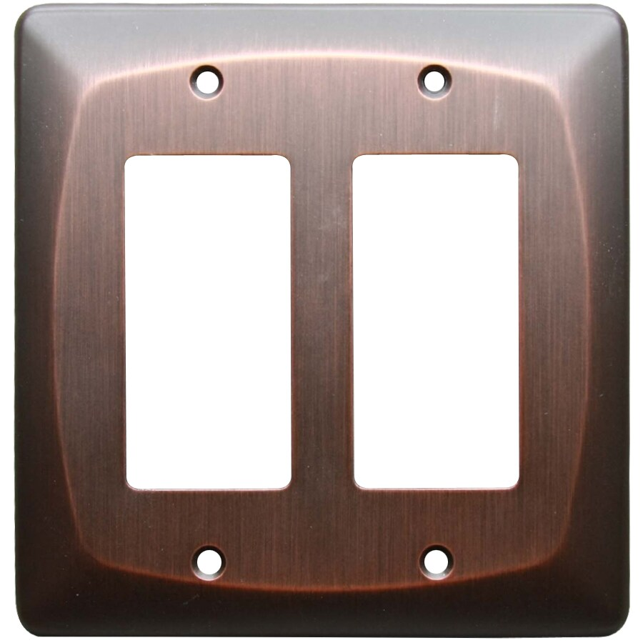 allen + roth Baker 2-Gang Dark Oil-Rubbed bronze Decorator Wall Plate