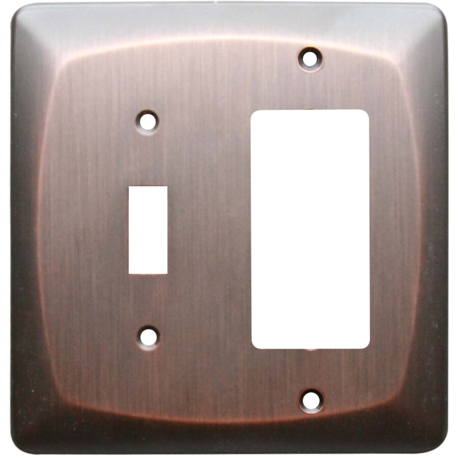 allen + roth Baker 2-Gang Dark Oil-Rubbed bronze Single Round Wall Plate
