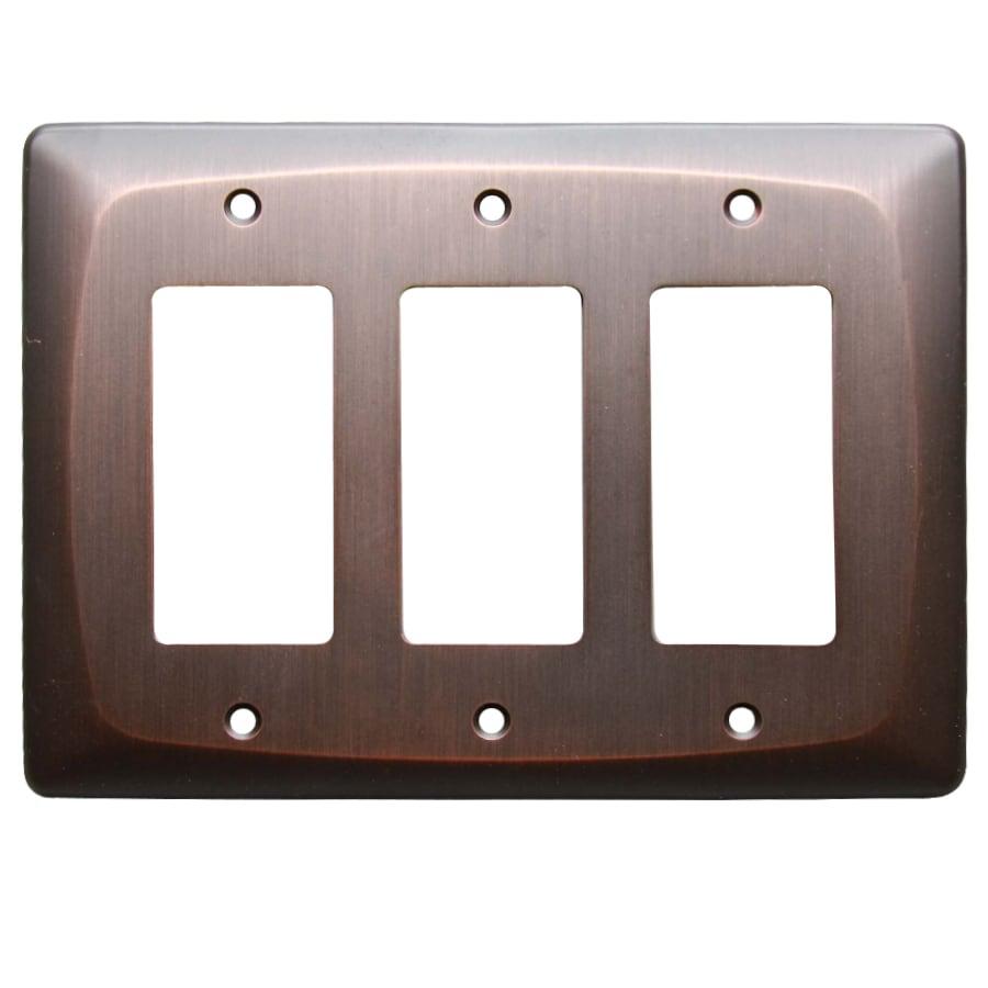 allen + roth Baker 3-Gang Dark Oil-Rubbed bronze Triple Decorator Wall Plate
