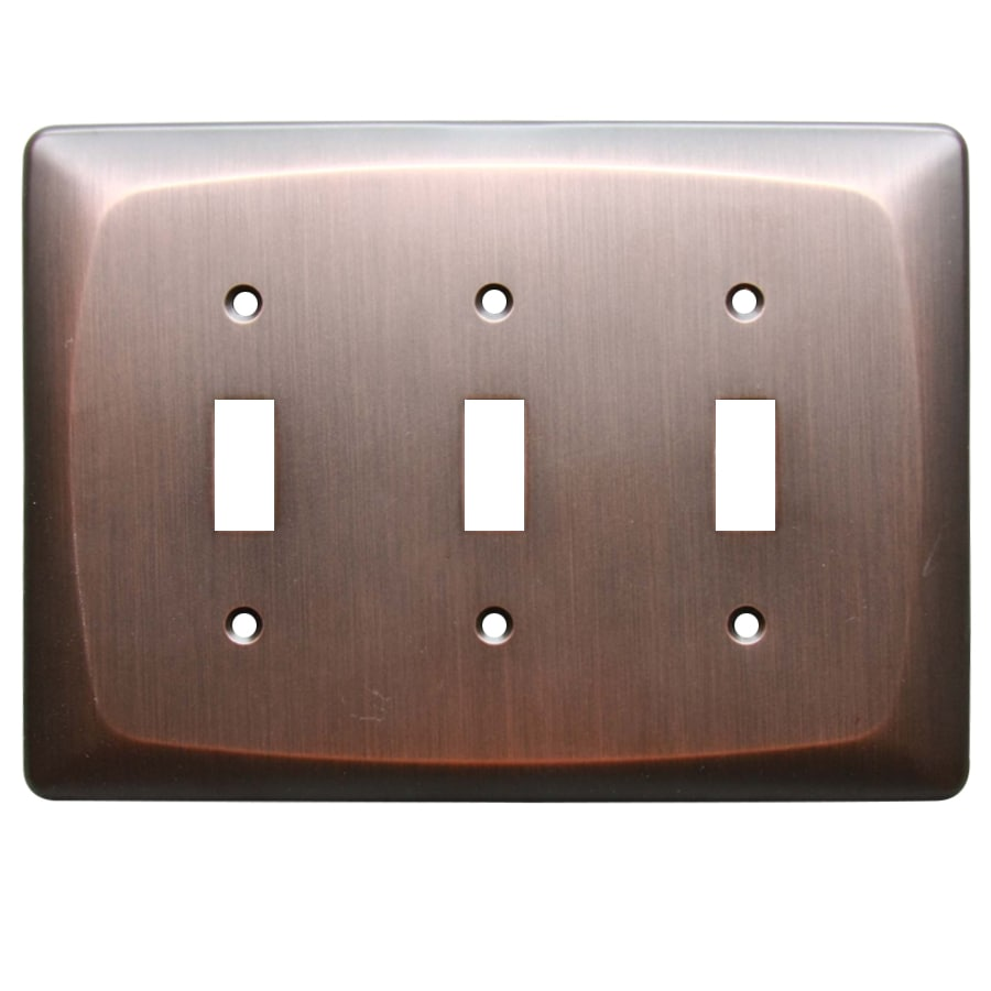 allen + roth Baker 3-Gang Dark Oil-Rubbed bronze Toggle Wall Plate