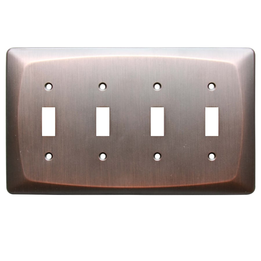 allen + roth Baker 4-Gang Dark Oil-Rubbed bronze Quad Toggle Wall Plate