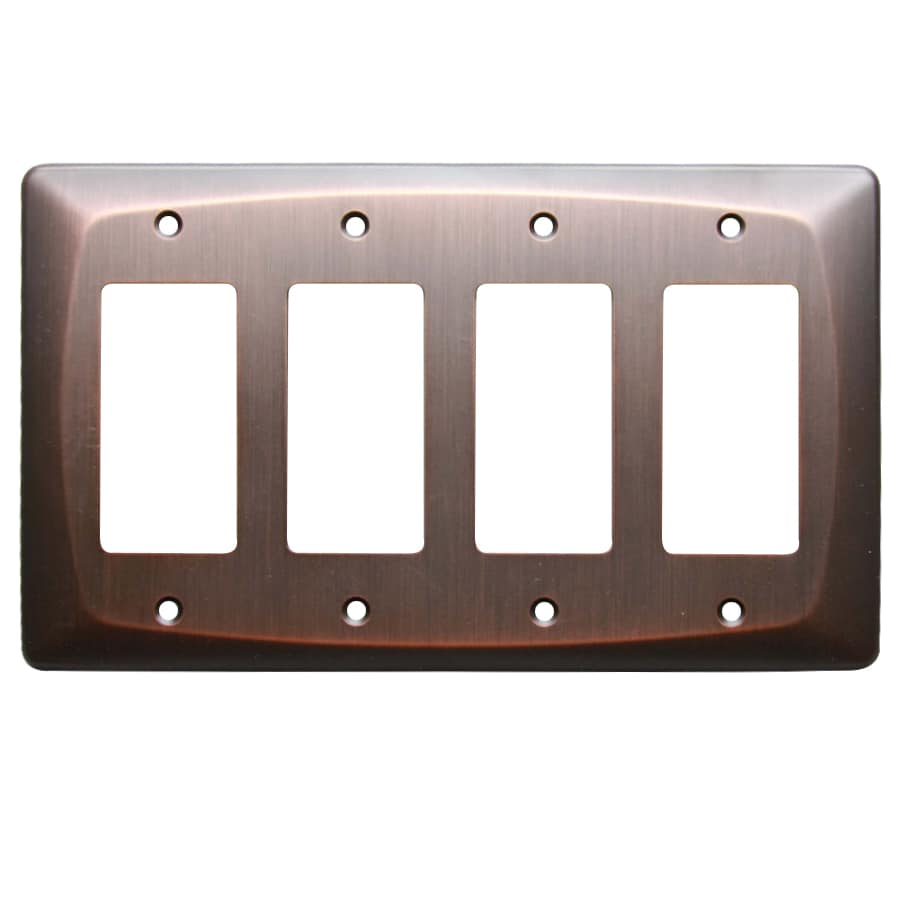 allen + roth Baker 4-Gang Dark Oil-Rubbed bronze Quad Decorator Wall Plate
