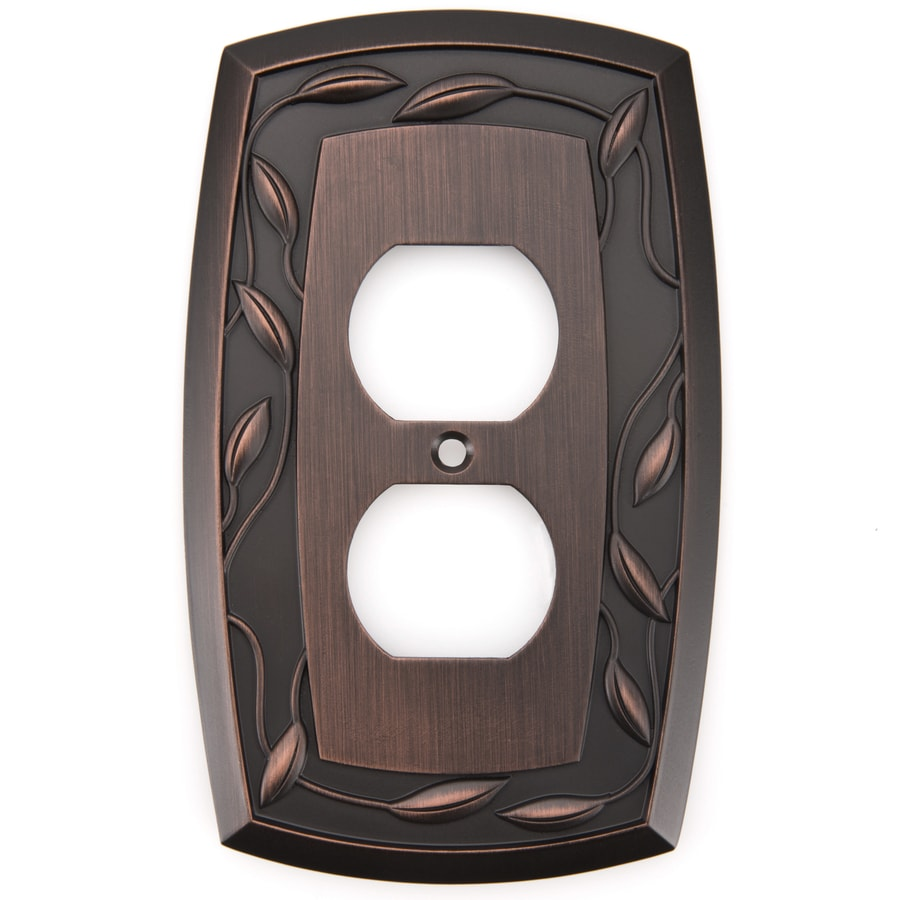 allen + roth 1-Gang Dark Oil-Rubbed Bronze Single Round Wall Plate
