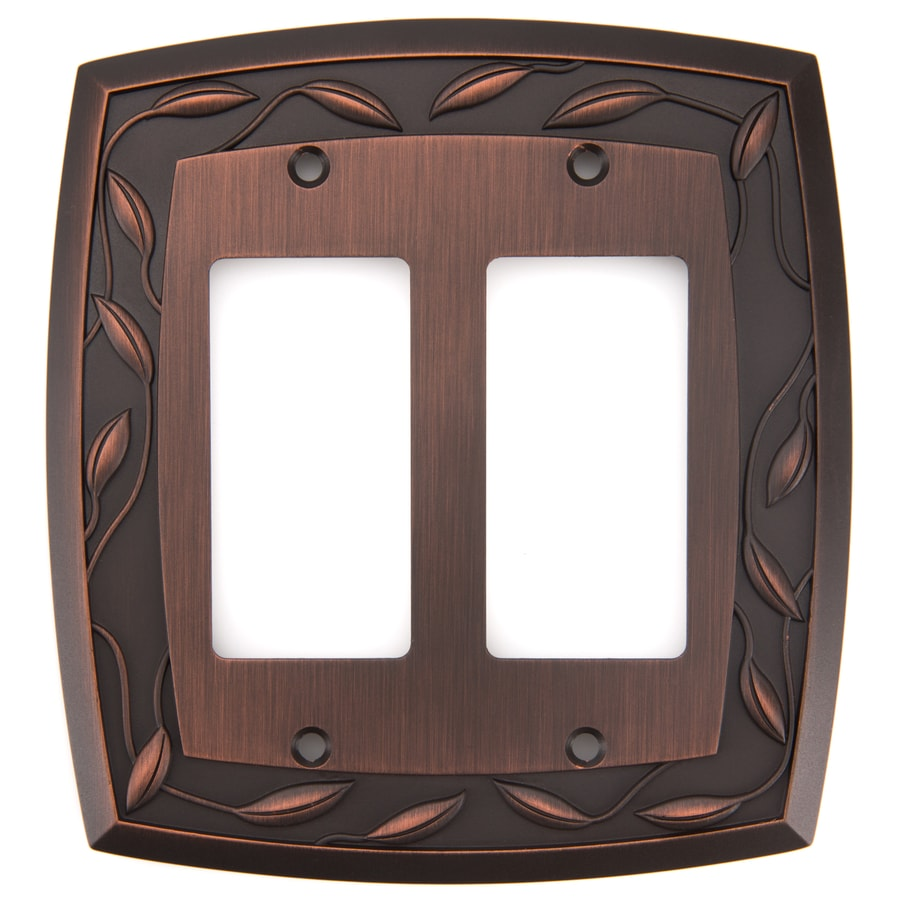 allen + roth Eastview 2-Gang Dark Oil-Rubbed bronze Double Decorator Wall Plate