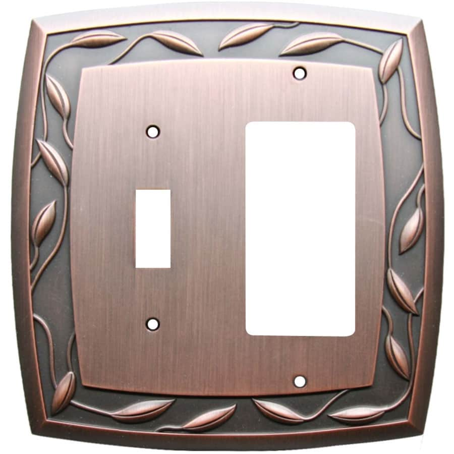 allen + roth 2-Gang Dark Oil-Rubbed Bronze Single Round Wall Plate
