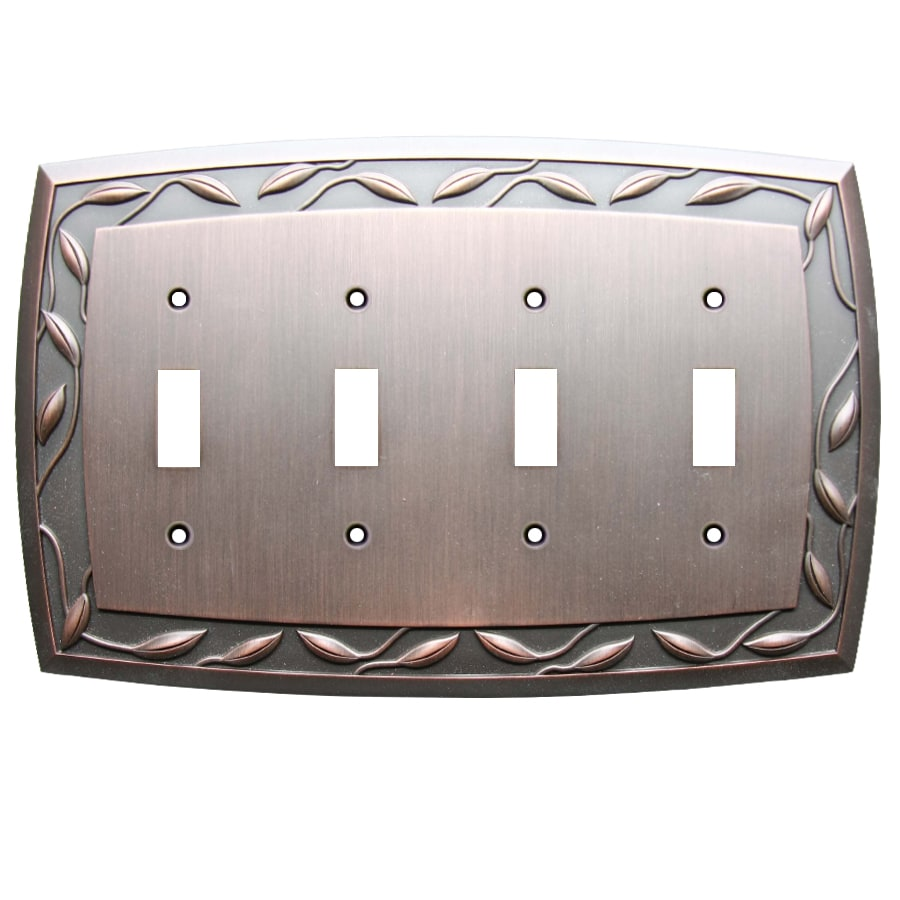 allen + roth Eastview 4-Gang Dark Oil-Rubbed bronze Quad Toggle Wall Plate