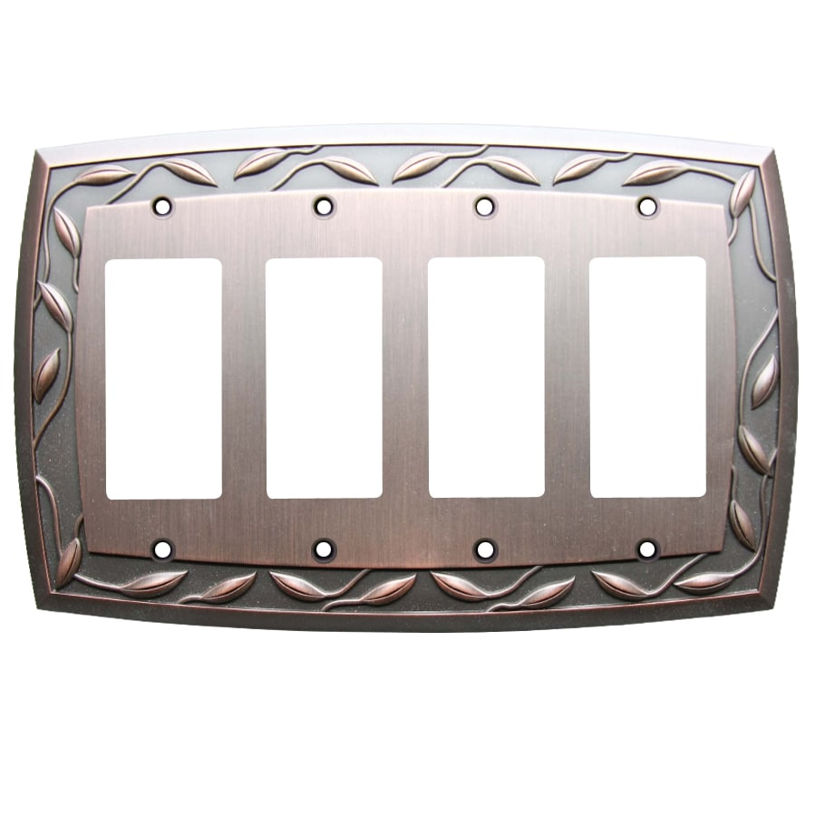 allen + roth 4-Gang Dark Oil-Rubbed Bronze Decorator Wall Plate