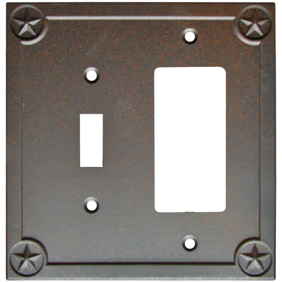 allen + roth 2-Gang Rust Single Round Wall Plate