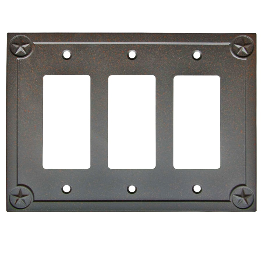 allen + roth Texas Star 3-Gang Rust Triple Decorator Wall Plate
