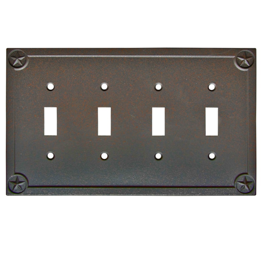 allen + roth Texas Star 4-Gang Rust Quad Toggle Wall Plate